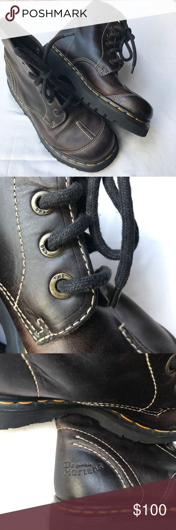 Dr. Marten 100% brown leather lace up boots EUC Dr. Marten 100% brown leather lace up boots sz 7 US women, 5 UK. In EUC beautiful leather with chunky soles. Smoke and Pet free home. *Inserts have been removed but can be purchased anywhere. Dr. Martens Shoes Lace Up Boots
