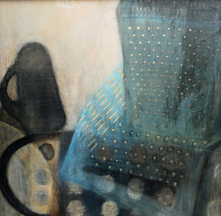 Made by Spotpainter (that`s me) Washing-up and the grater Painting: Paint on Cardboard. Size: 19.7 H x 19.7 W x 0.4 in  This is a washing-up still life with a mug and a plate and a squarish dotted grater. The rhythm is so monotone such as everyday washing up the dishes.