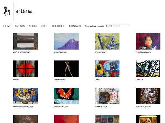 Conception et création du site web d'Arteria Gallery