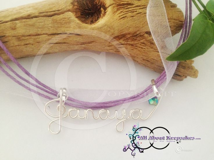 "Wire Name on ribbon necklace ""Janaya""  allaboutkeepsakes.com"