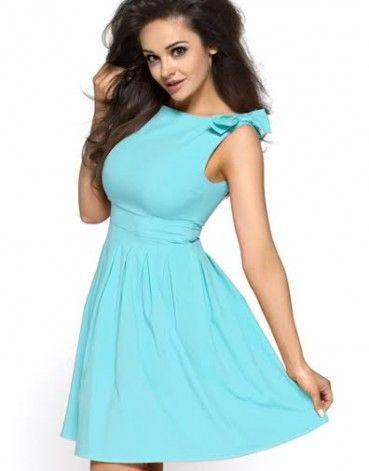 Letnia niebieska sukienka z kokardami KM112-3 na wesele