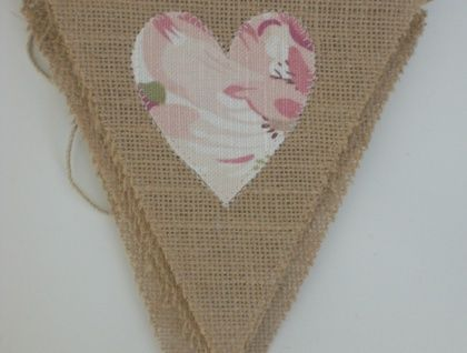 Hessian Bunting with Floral Hearts