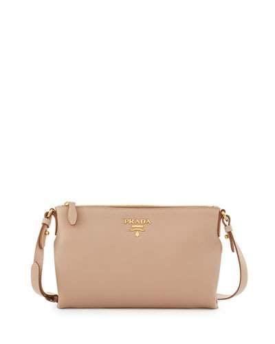 PRADA Vitello Daino Large Crossbody Bag. #prada #bags #shoulder bags #leather #crossbody #lining #