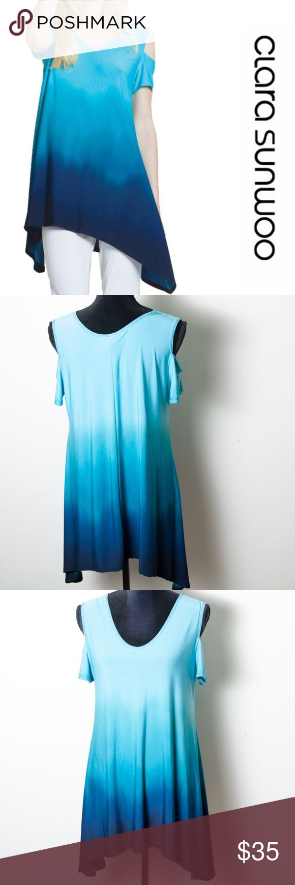 Clara Sunwoo Open Shoulder V Neck Tunic Blue Med Clara Sunwoo tunic in a size medium. Ombre open or cold shoulder in turquoise and navy. V neck, 1/2 sleeve. Soft stretch knit. Worn one time for a few hours. This is in excellent preloved condition. Clara Sunwoo Tops Tunics