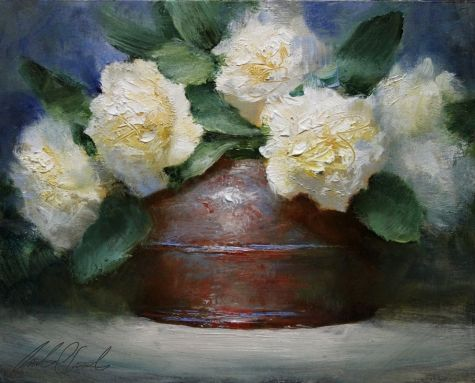 White Carnations, painting by artist Justin Clements