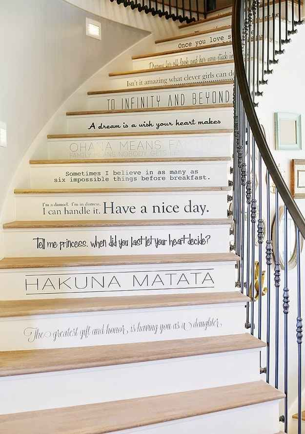 Disney Quote Stairs!! WHAT!? Oh my gosh I'm in love. This will be in my house.
