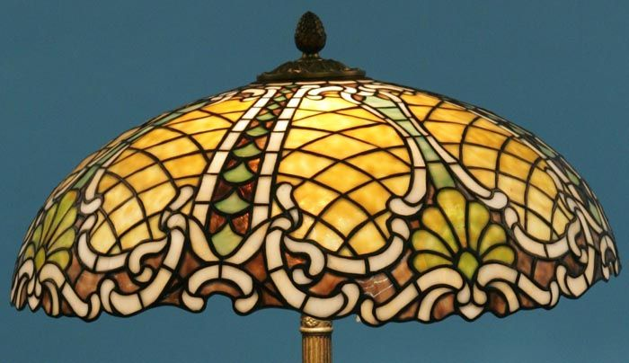 Table Lamp Leaded Stained Glass Rocks