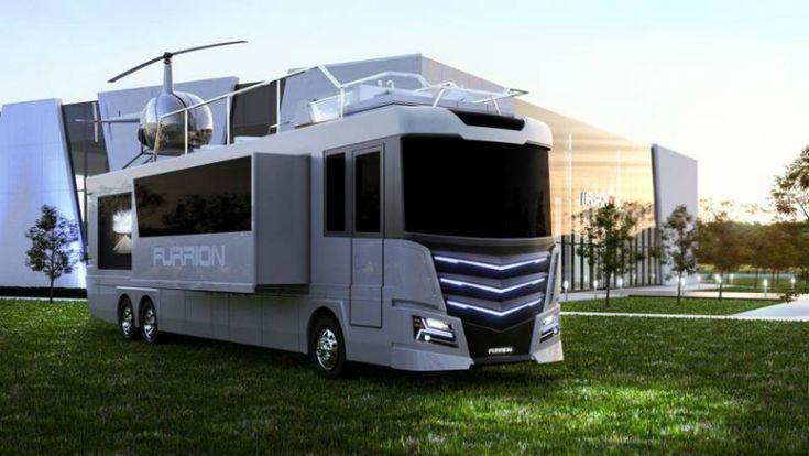 Компания Furrion представила ультрасовременный дом на колесах. Elysium оснащен по последнему слову техники и имеет на крыше вертолетную площадку и зону отдыха с джакузи.