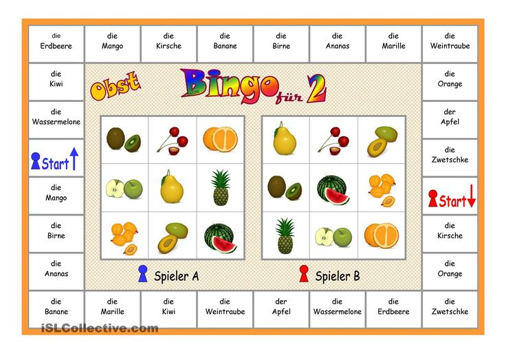bingo f r 2 spieler obst bingo essen and worksheets. Black Bedroom Furniture Sets. Home Design Ideas