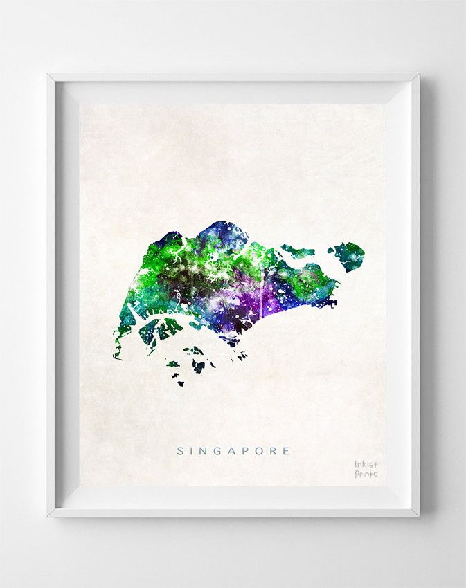 Singapore Watercolor Map Print