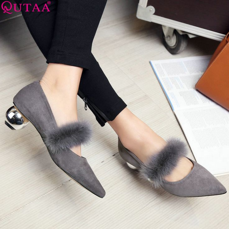 QUTAA 2017 Women Pumps Ladies Shoes Square Med Heel Slip On Elegant Genuine Leather Pointed Toe Woman Wedding Shoes Size 34-39