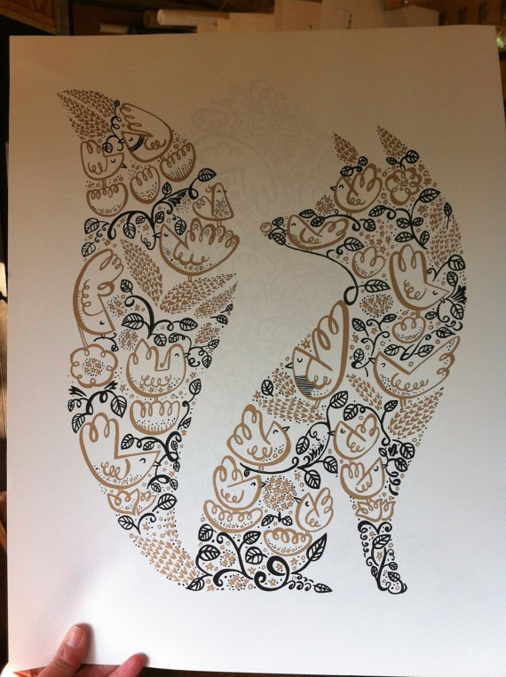 Fox picture. Could cut a fox silhouette out of fabric and glue to a canvas, can do with any silhouette