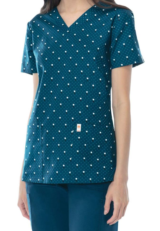 Code Happy You've Dot This Caribbean print scrub top with Certainty. Main Image