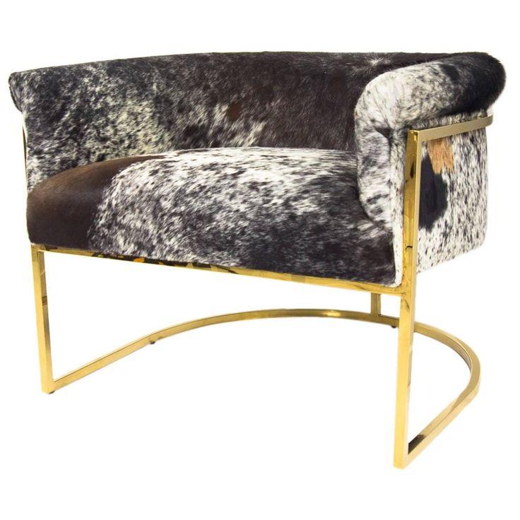 Tri-Color Cowhide Chair in Slim Brass Legs