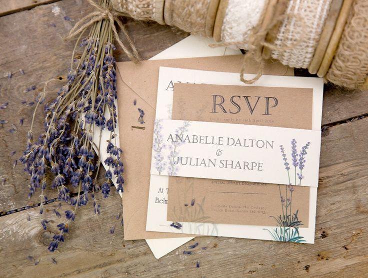 Lavender Wedding Invitation RSVP & String by vintageweddinggoods