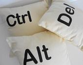 Control Alt Delete Throw Pillow Covers, Set of 3, Ctrl Alt Del Decorative Pillow Covers, Keyboard, 14x14