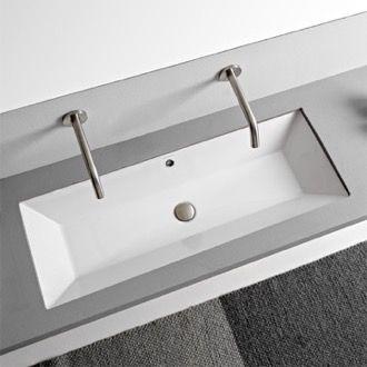 Rectangular White Ceramic Trough Undermount Sink