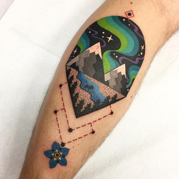 Mountain/sky/geometric/colorful tattoo by Winston the Whale @WinstonTheWhale on Instagram