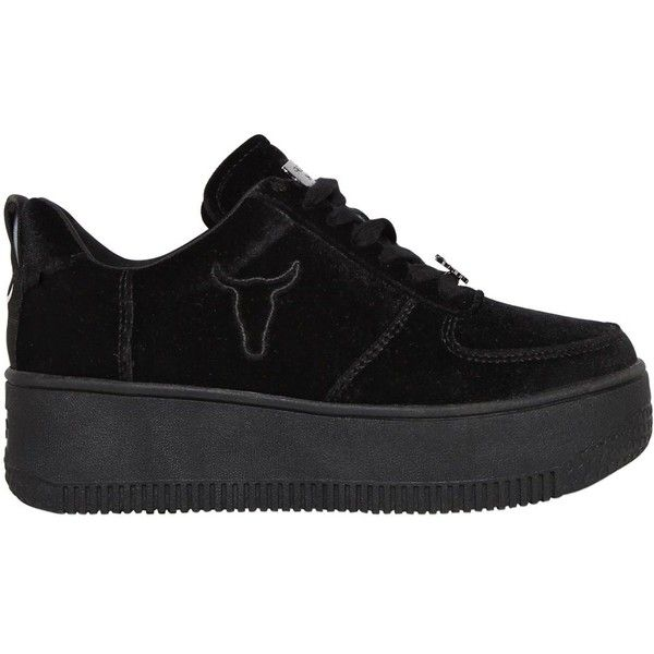 Windsor Smith Women 50mm Racer Velvet Sneakers ($151) ❤ liked on Polyvore featuring shoes, sneakers, black, black trainers, windsor smith sneakers, black shoes, velvet sneakers and platform shoes