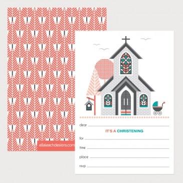 Christening Invitations - Melon (Pack of 12)