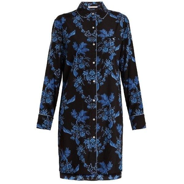 Stella McCartney Lingerie Poppy Snoozing stretch-silk pyjama... (£230) ❤ liked on Polyvore featuring intimates, sleepwear, pajamas, blue multi, floral pyjamas, stella mccartney and blue pajamas