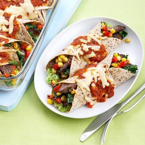 Fusion Enchiladas, with an edamame-based version of refried beans! Clean Eating http://www.cleaneatingmag.com/Recipes/Recipe/Fusion-Enchiladas-.aspx