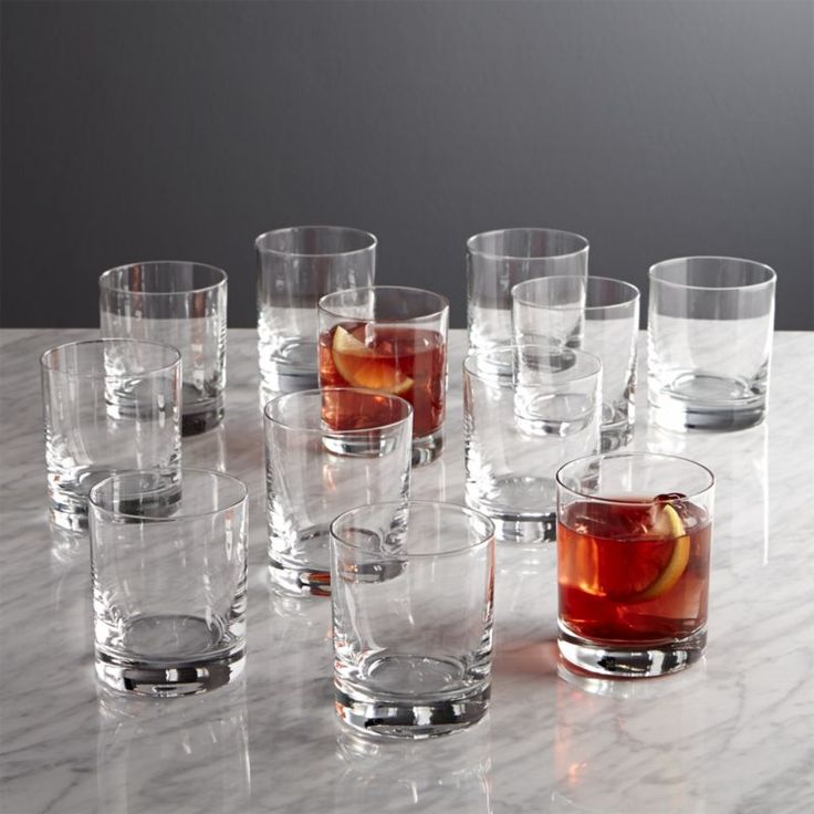 Set of 12 Peak Double Old-Fashioned Glasses | Crate and Barrel