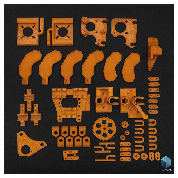 RepRap Mendel printed parts. #3Dprint #RepRap #pritnedparts #orange