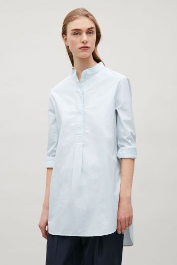 COS image 1 of Long grandad collar shirt in Powder Blue