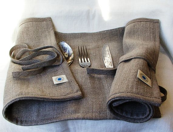 Cutlery Holder--Delicate Placemat--Cloth Flatware Case Roll Wrap--Picnik Flatware Holder--Ecru Set of Two