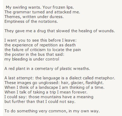 adrienne rich poem a woman mourned by daughters Song adrienne rich - research database - a dissertation help resource - dissertations and theses com home this 3 page paper discusses adrienne rich's poem, a woman mourned by daughters' for the elements a poet uses to describe her art.