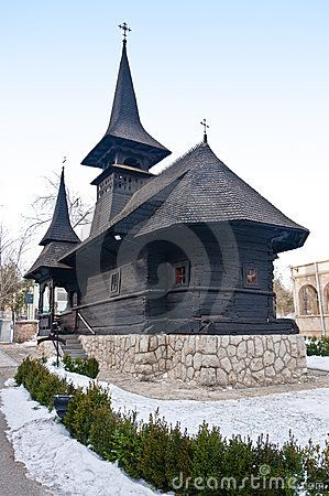 Saint Mary monastery from Techirghiol, Romania, wonderful little transilvanian church. Built from wood in the 17th century by the peasants of Maioresti (Mures district) the church was moved in 1934 by King Carol II at the Pelisor Castle in Sinaia. After the transportation to Techirghiol (Constanta district) the repairing workers added a sculpted veranda and a watch tower with bells.