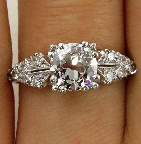 Art Deco 1.37ctw Old EUROPEAN Cut Diamond Engagement Vintage Platinum Ring EGL USA , Circa 1920