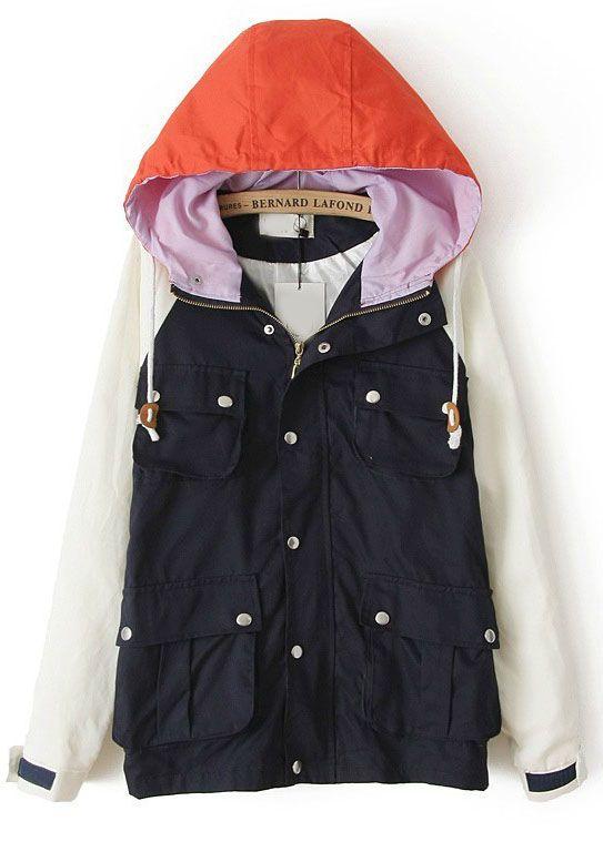 Black Contrast Hooded Long Sleeve Pockets Coat - Sheinside.com