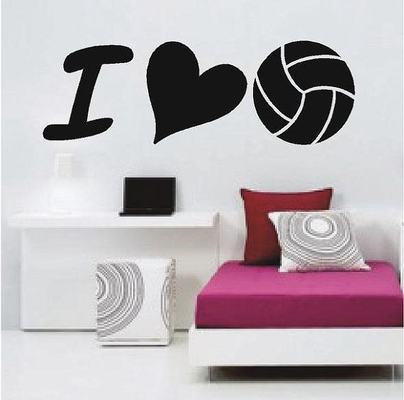 i love volleyball sports wall decals - Volleyball Bedroom Decor