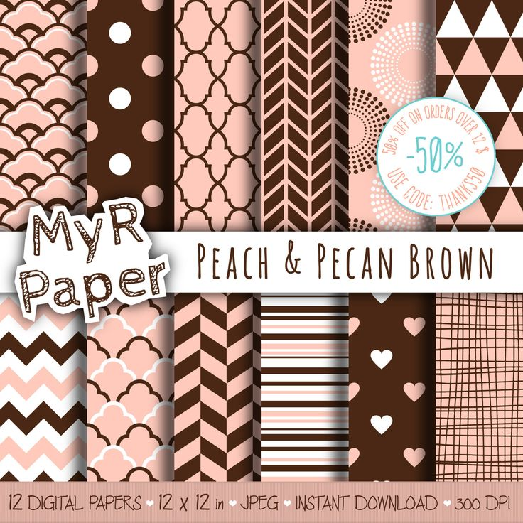 "#pattern #design #graphic #paperdesign #papercraft #scrapbooking #digitalpaper Digital paper: ""Peach & Pecan Brown"" pack for scrapbooking, invite, card – fans, japanese, dots, hearts, stripes, chevron, moroccan di MyRpaper su Etsy"