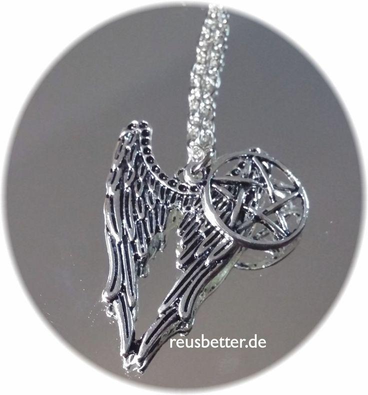 Supernatural Kette Schutzamulett Pentagramm Flügel Castiel Kette Silber