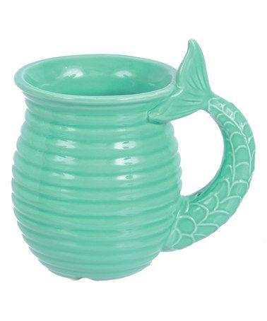Look at this #zulilyfind! Teal Ceramic Mermaid Tail Mug #zulilyfinds