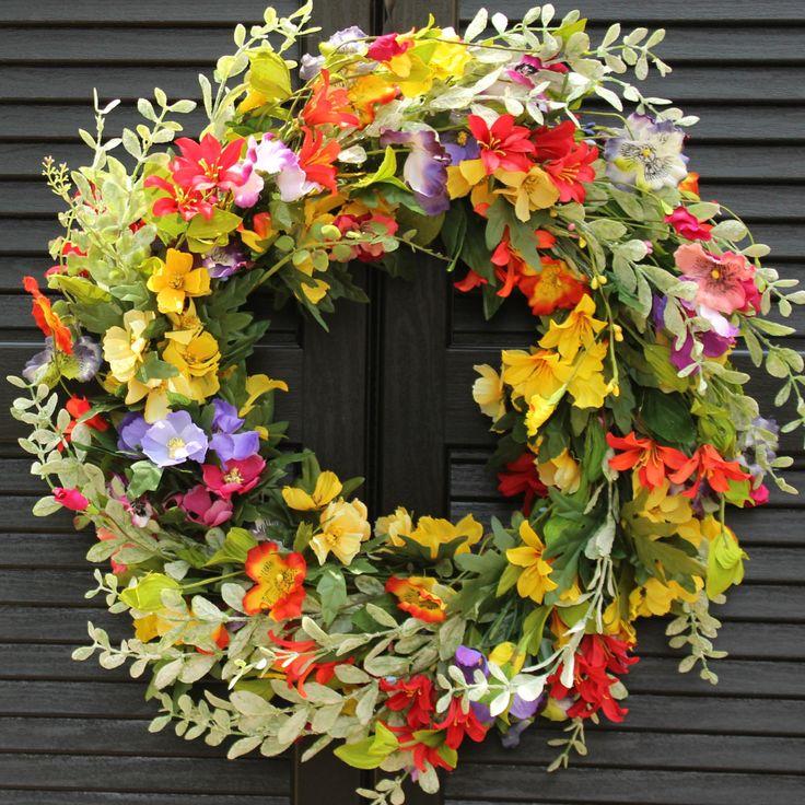 Summer Floral Door Wreath - Flower Wreath - Spring Summer Door Decor