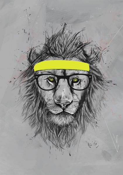 hipster lion Stretched Canvas