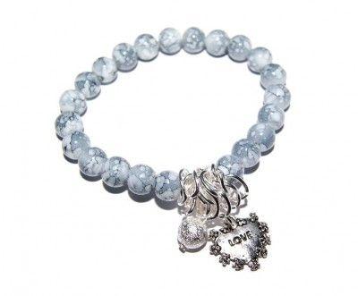 Szara Bransoletka z Koralików z Sercem #bracelet #bransoletka