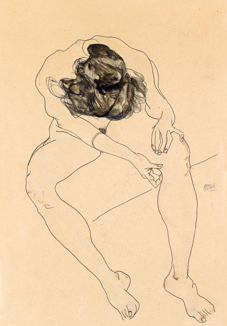 Egon Schiele (1890 - 1918), Sitzender weiblicher Akt von oben gesehen, 1912, Gouache/Aquarell/Bleistift auf Papier, Schätzwert € 250.000 - 320.000, Auktion 23. Mai 2012