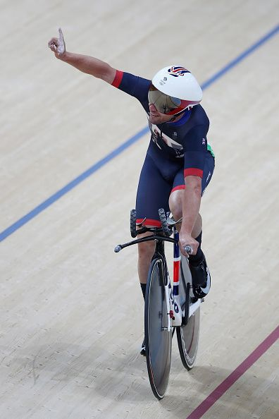 Mark Cavendish of Great Britain reacts after competing in the Men's Omnium…