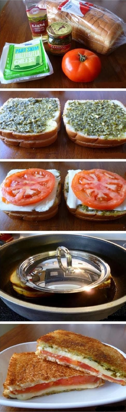 Food & Drink: Grilled cheese tomato and pesto sandwich