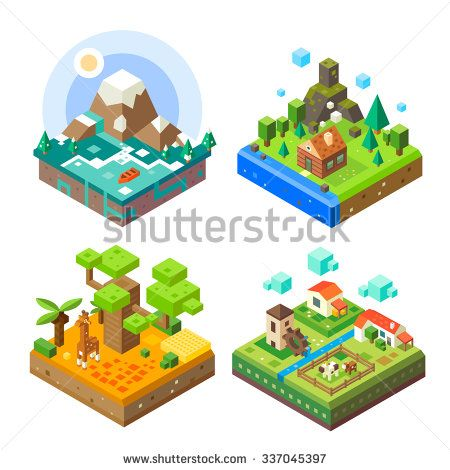 Isometric tile set: African tile with giraffe, countryside, mountain lake view, house in the woods. Flat vector stock set.