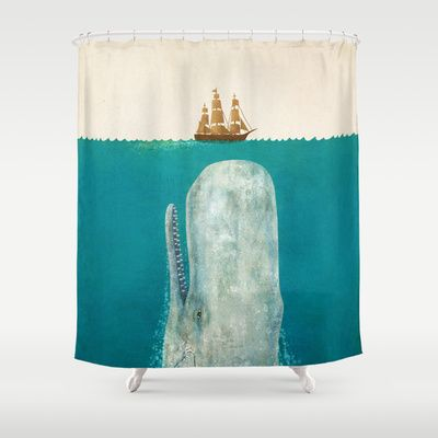 The Whale  Shower Curtain framed as art for Brighton back room