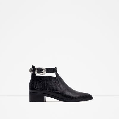 ZARA - WOMAN - FLAT BOOTIE WITH ANKLE STRAP