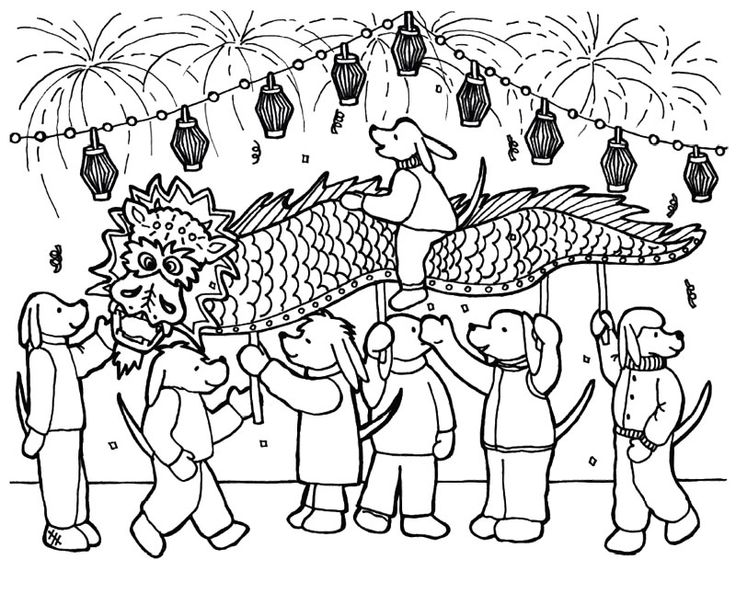 Chinese New Year Having Fun With Many People Coloring Page
