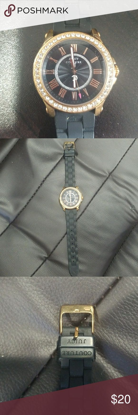 Juicy couture watch Black silicone band, gold trim watch with clear rhinestones. Authentic juicy couture. Needs a new battery. Juicy Couture Accessories Watches