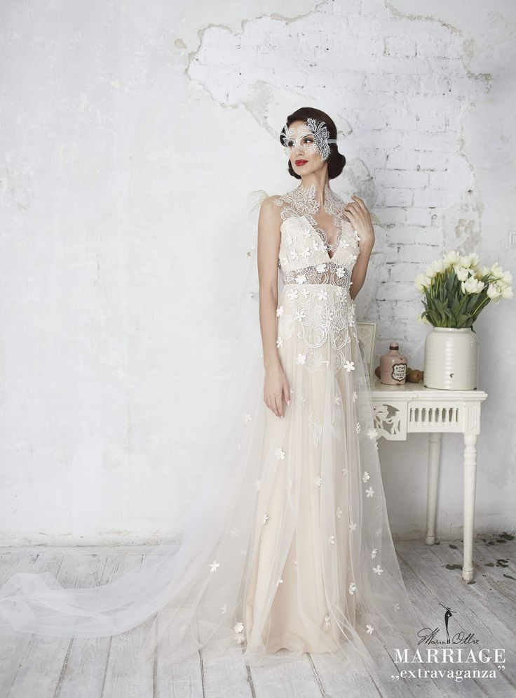 "Marie Ollie, Marriage ,,extravaganza"", wedding dress, summer, lace, mask"